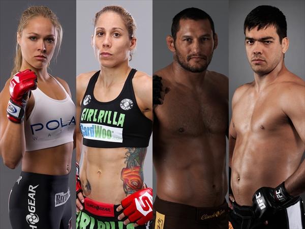 <p>(写真左より)ロンダ・ラウジー、リズ・カムーシェ、ダン・ヘンダーソン、リョート・マチダ (c)Photo Courtesy of UFC</p>