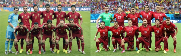 <p>(写真左より)スペイン代表 写真:アフロ、ポルトガル代表 写真:Action Images/アフロ</p>