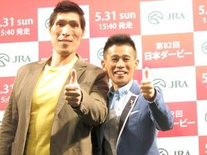 「新宿DERBY GO-ROUND 日本ダービー枠順確定!スペシャルトークセッション」に登場した篠原信一(左)と柳沢慎吾