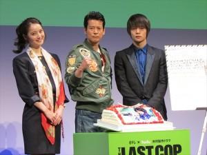 「THE LAST COP/ラストコップ」完成披露試写会(左から)佐々木希、唐沢寿明、窪田正孝