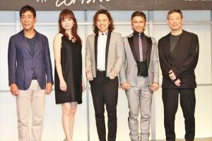 『SONG WRITERS』製作発表(左から)岸谷五朗、島袋寛子、中川晃教、武田真治、森雪之丞