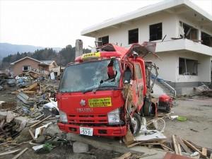 『消防隊だけが撮った0311 彼らは「命の砦」となった』岩手・陸前高田市 被災した消防車(塩竃市消防局提供)