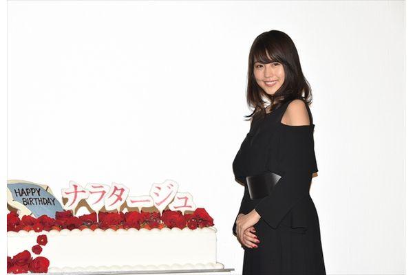 """嵐・松本潤""""名前入り""""BDケーキのサプライズに大照れ!映画「ナラタージュ」完成披露試写会"""