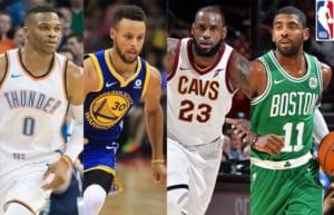 (写真左より)ラッセル・ウェストブルック、ステフィン・カリー、レブロン・ジェームズ、カイリー・アービング ©2017 NBA Entertainment/Getty Images.All Rights Reserved.