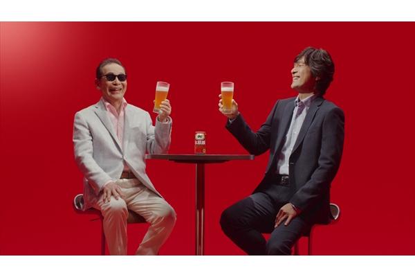 タモリが江口洋介と乾杯!「本麒麟」新CMで久々共演