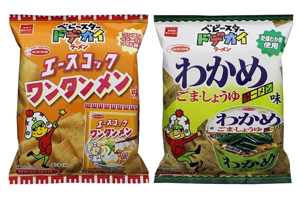 『ベビースタードデカイラーメン(エースコック ワンタンメン味/わかめラーメン味)』