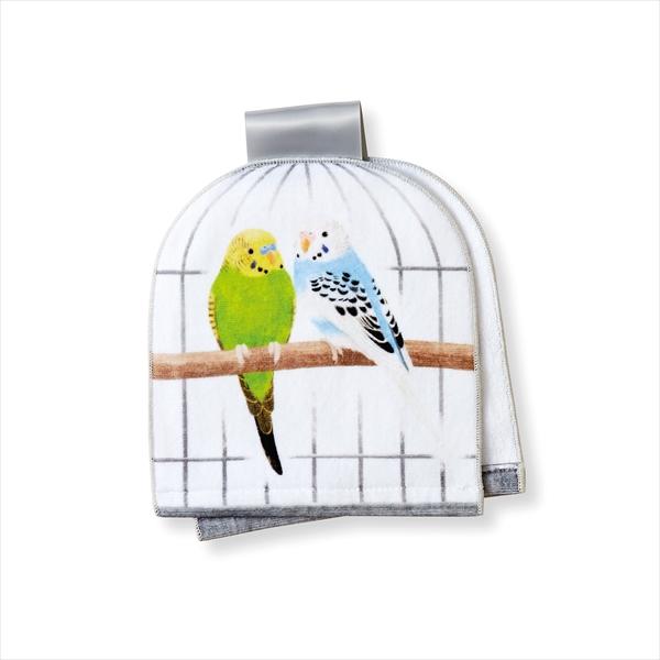 「仲むつまじい小鳥と暮らす鳥かごのフェイスタオル」