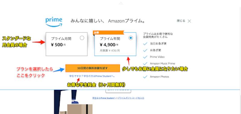 アマゾンプライムビデオ無料体験申し込み画像